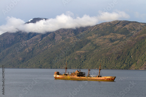 Ship wreck in a fjord of Patagonia