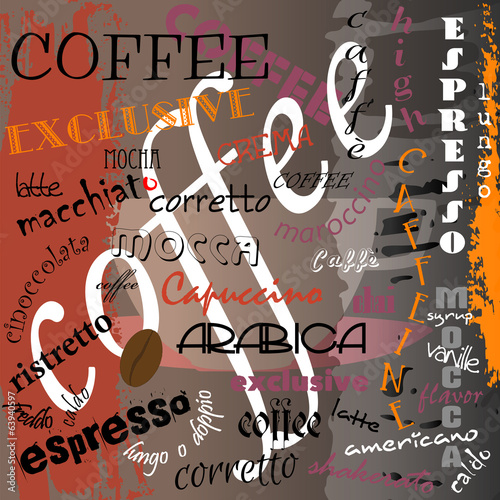 abstract coffee design , typographic, vector eps 10