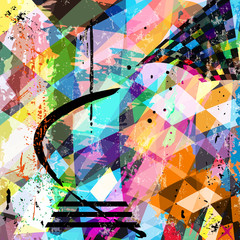 abstract art composition with strokes, splashes and geom