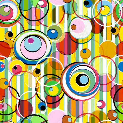 vivid colors in a seamless  pattern, circles + stripes