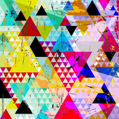 abstract background, with paint strokes, splashes and triangles