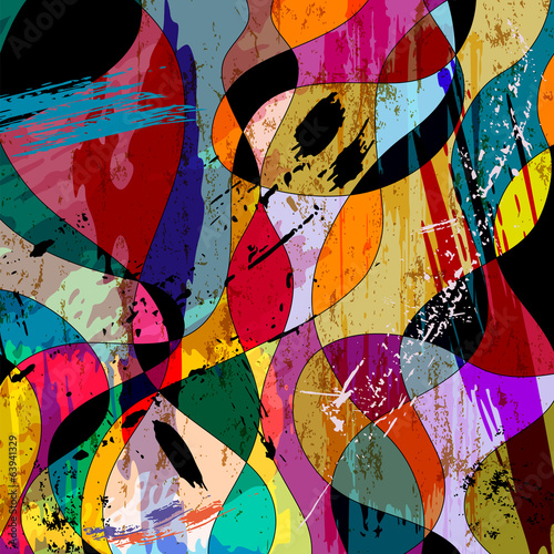 colorful curved  composition, with strokes, splashes