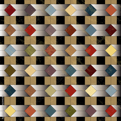 abstract geometric pattern, retro/vintage style, grungy