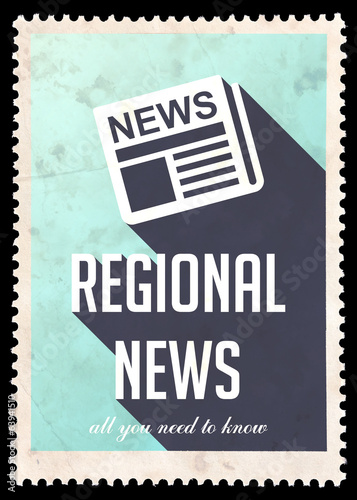 Regional News on Blue in Flat Design.