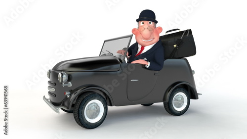The 3D businessman costs near car.
