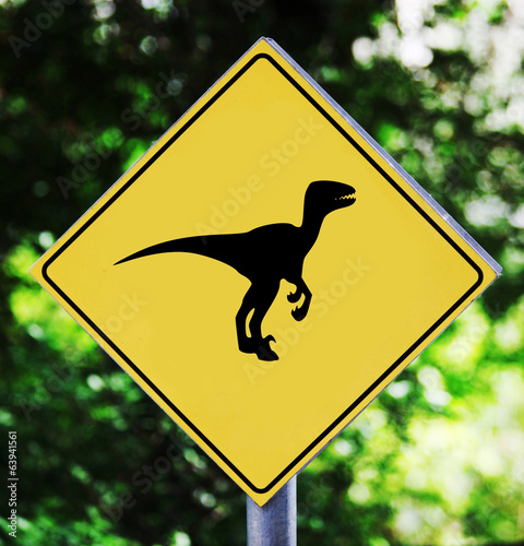 Poster Yellow traffic label with dinosaur pictogram