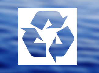 Recycling symbol with water surface background