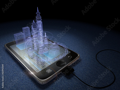 Digital tablet and futuristic town  concept background