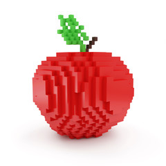 Red Apple in Pixel Style isolated on white background