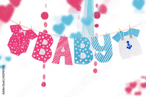 Garland with cloth and letters elements for baby shower - 63943596