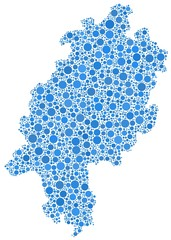 Map of Hesse - Germany - in a mosaic of blue bubbles