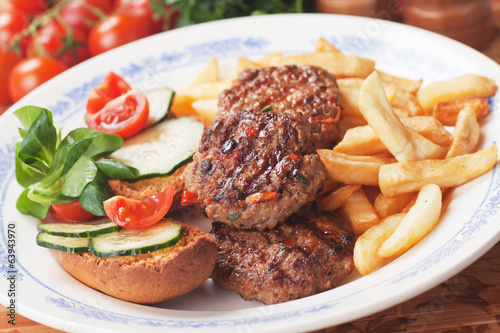 Mini burgers and french fries