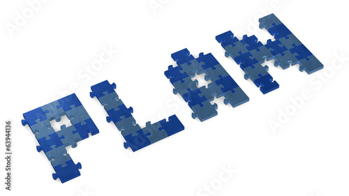 3d plan text assembled of puzzles, perspective