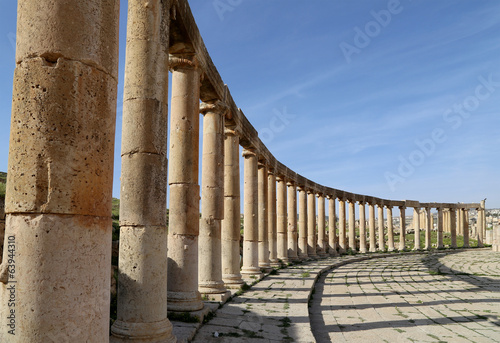 Forum (Oval Plaza)  in Jerash, Jordan.
