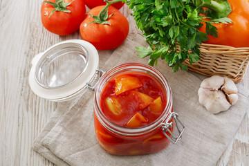 letcho in a glass jar