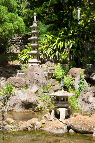 Japanese garden in Iao Valley State Park on Maui Hawaii