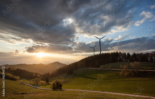 wind power mills in black forest, Germany