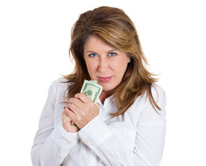 My money. Woman holding cash isolated on white background