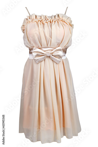 Beige cocktail dress with satin bow