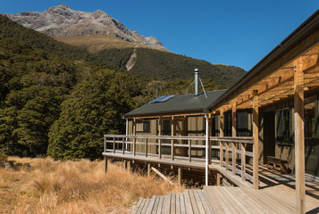 mountain hut in Fiordland National Park, New Zealand