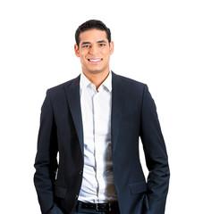 Portrait happy smiling man, confident casual businessperson