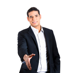 Handshake from a businessperson on white background