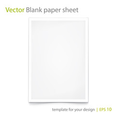 Blank Paper A4. Isolated on white. Eps 10