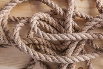 rope on wooden board