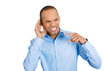 Good rumors. Nosy man carefully listening to latest gossip