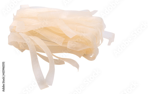 Dried kway teow over white background