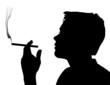 Teen Boy Silhouette Smoking Cigarette - 63946715