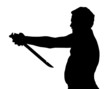 Man Silhouette Stubby European Attempting Harakiri with Samurai