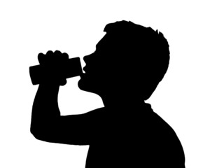 Teen Boy Silhouette Drinking from Can