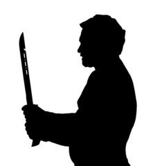 Man Silhouette Stubby European Holding Samurai Sword