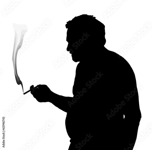 Man Silhouette Stubby European Smoking Cigarette