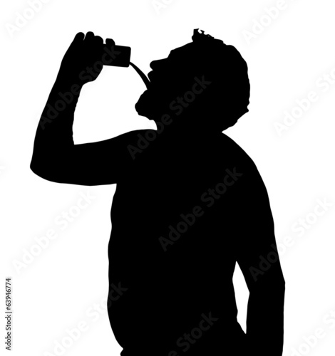 Man Silhouette Stubby European Drinking from Can