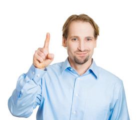 Young happy man in blue short showing number one finger