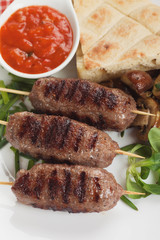 Kebab, minced meat skewer