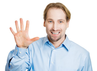 Man showing hi, bye, or number five hand gesture on white