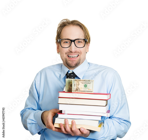 College savings. Man, student holding books, money, cash