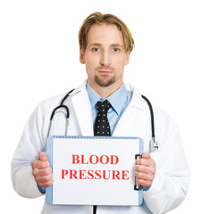 Male doctor holding up Check your blood pressure sign