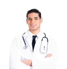 Confident male doctor with stethoscope and patient chart