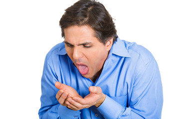 Vomiting. Man feels sick, throwing up, isolated on white