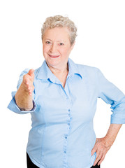 Senior elderly woman giving handshake on white background