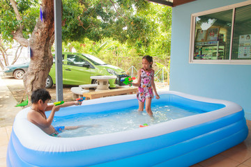 Kids and Inflatable pool