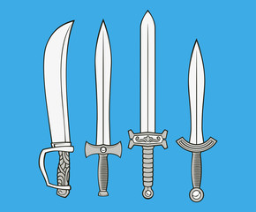 illustration of swords from various ethnicity