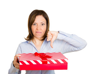 Bad present, gift idea thumbs down, white background