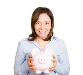 Portrait Happy woman holding Piggy bank, her savings