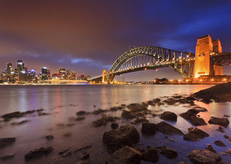 Sydney CBD Bridge Rocks Low Tide