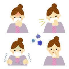 風邪の症状 女性 / vector eps